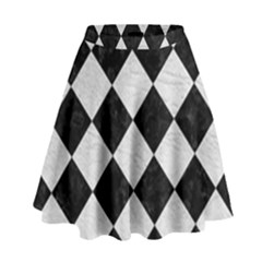 Square2 Black Marble & White Leather High Waist Skirt