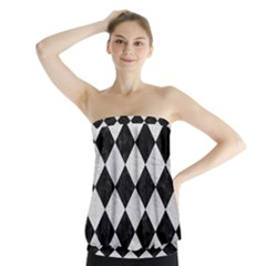 Square2 Black Marble & White Leather Strapless Top