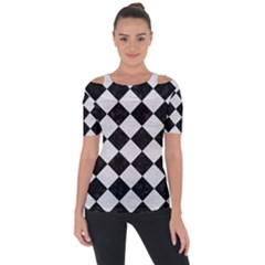 Square2 Black Marble & White Leather Short Sleeve Top