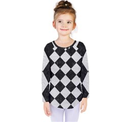 Square2 Black Marble & White Leather Kids  Long Sleeve Tee