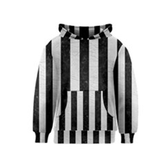 Stripes1 Black Marble & White Leather Kids  Pullover Hoodie