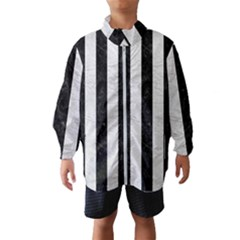 Stripes1 Black Marble & White Leather Wind Breaker (kids)