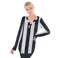 Stripes1 Black Marble & White Leather Tie Up Tee
