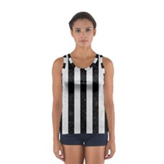 Stripes1 Black Marble & White Leather Sport Tank Top