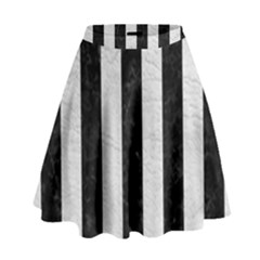 Stripes1 Black Marble & White Leather High Waist Skirt