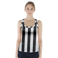 Stripes1 Black Marble & White Leather Racer Back Sports Top