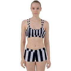 Stripes1 Black Marble & White Leather Women s Sports Set