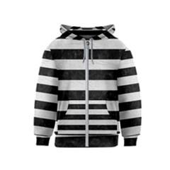 Stripes2 Black Marble & White Leather Kids  Zipper Hoodie