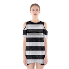 Stripes2 Black Marble & White Leather Shoulder Cutout One Piece