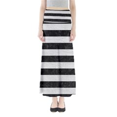 Stripes2 Black Marble & White Leather Full Length Maxi Skirt