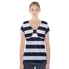 Stripes2 Black Marble & White Leather Short Sleeve Front Detail Top