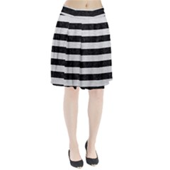 Stripes2 Black Marble & White Leather Pleated Skirt