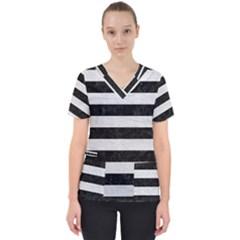 Stripes2 Black Marble & White Leather Scrub Top