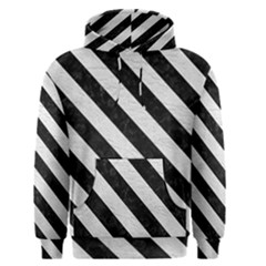 Stripes3 Black Marble & White Leather Men s Pullover Hoodie