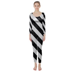 Stripes3 Black Marble & White Leather Long Sleeve Catsuit