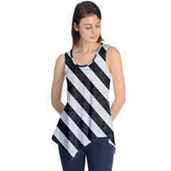 Stripes3 Black Marble & White Leather Sleeveless Tunic