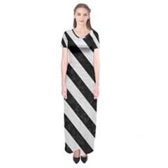Stripes3 Black Marble & White Leather Short Sleeve Maxi Dress