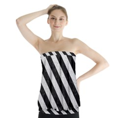 Stripes3 Black Marble & White Leather Strapless Top