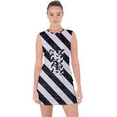 Stripes3 Black Marble & White Leather Lace Up Front Bodycon Dress