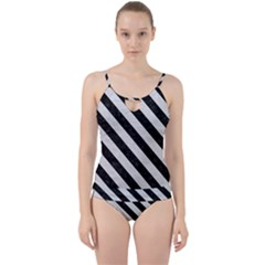 Stripes3 Black Marble & White Leather Cut Out Top Tankini Set