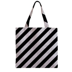 Stripes3 Black Marble & White Leather (r) Zipper Grocery Tote Bag