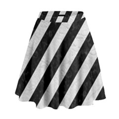 Stripes3 Black Marble & White Leather (r) High Waist Skirt
