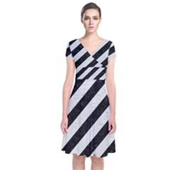 Stripes3 Black Marble & White Leather (r) Short Sleeve Front Wrap Dress