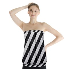 Stripes3 Black Marble & White Leather (r) Strapless Top