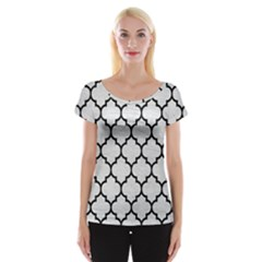Tile1 Black Marble & White Leather Cap Sleeve Tops