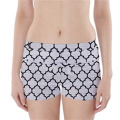 Tile1 Black Marble & White Leather Boyleg Bikini Wrap Bottoms