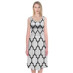 Tile1 Black Marble & White Leather Midi Sleeveless Dress