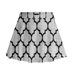 Tile1 Black Marble & White Leather Mini Flare Skirt