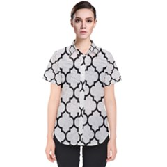 Tile1 Black Marble & White Leather Women s Short Sleeve Shirt