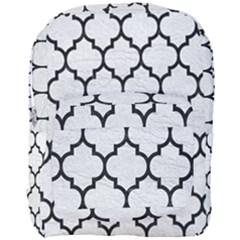 Tile1 Black Marble & White Leather Full Print Backpack