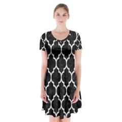Tile1 Black Marble & White Leather (r) Short Sleeve V Neck Flare Dress