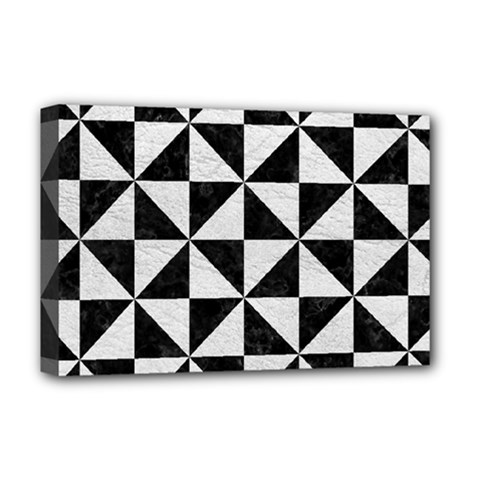 Triangle1 Black Marble & White Leather Deluxe Canvas 18  X 12