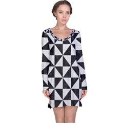 Triangle1 Black Marble & White Leather Long Sleeve Nightdress