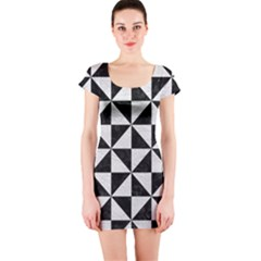 Triangle1 Black Marble & White Leather Short Sleeve Bodycon Dress