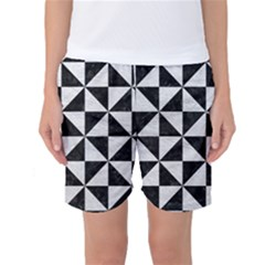 Triangle1 Black Marble & White Leather Women s Basketball Shorts