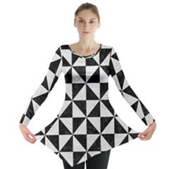 Triangle1 Black Marble & White Leather Long Sleeve Tunic