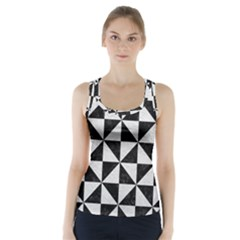 Triangle1 Black Marble & White Leather Racer Back Sports Top