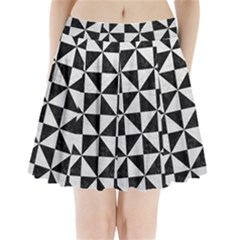 Triangle1 Black Marble & White Leather Pleated Mini Skirt