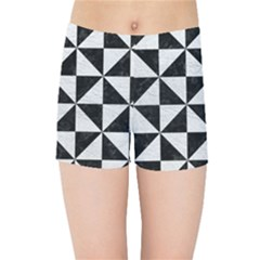 Triangle1 Black Marble & White Leather Kids Sports Shorts