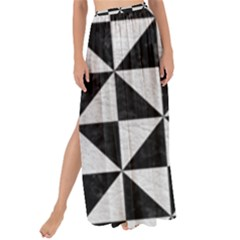 Triangle1 Black Marble & White Leather Maxi Chiffon Tie Up Sarong
