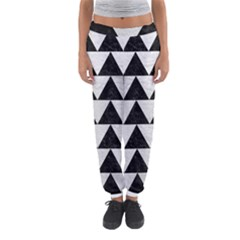 Triangle2 Black Marble & White Leather Women s Jogger Sweatpants