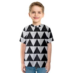 Triangle2 Black Marble & White Leather Kids  Sport Mesh Tee