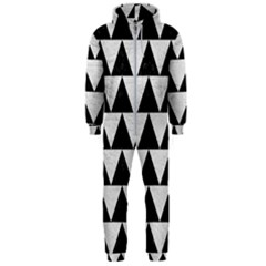 Triangle2 Black Marble & White Leather Hooded Jumpsuit (men)