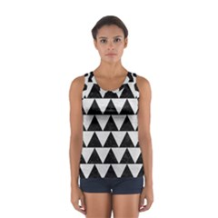 Triangle2 Black Marble & White Leather Sport Tank Top