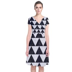 Triangle2 Black Marble & White Leather Short Sleeve Front Wrap Dress