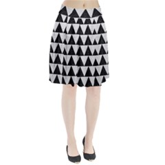 Triangle2 Black Marble & White Leather Pleated Skirt